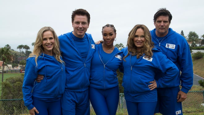 """(L to R) Troublemakers team Julie Benz, John Barrowman, Vivica A. Fox, Catherine Bach and Paul Johansson on """"Battle of the Network Stars,"""" based on the '70s and '80s television pop-culture classic, during the season finale on September 7 on ABC."""