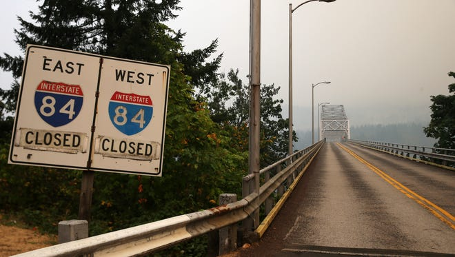 Interstate 84 and the Bridge of the Gods closed Sept. 5, 2017 due to area wildfires. Westbound lanes re-opened Sept. 14. Eastbound lanes re-opened Saturday, Sept. 23.