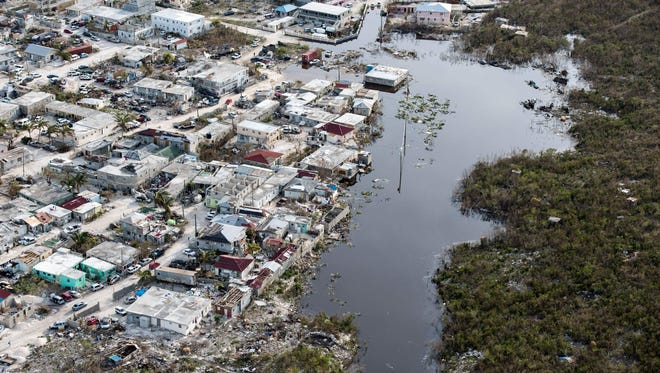 Flooded area on the island of Providenciales in  the Turks and Caicos archipelago after it was hit by Hurricane Irma on Sept. 11, 2017. r