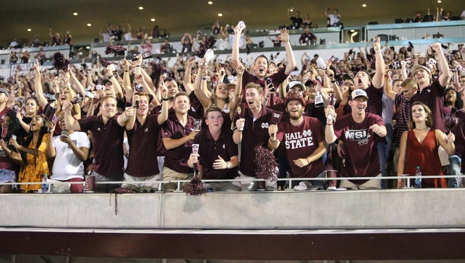 MSU fans celebrate as the clock winds down to zero. Mississippi State and LSU played in an SEC college football game on Saturday, September 16, 2017 at Davis Wade Stadium in Starkville. Photo by Keith Warren (Mandatory Credit)