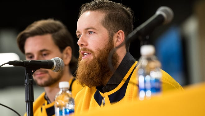 Ryan Ellis speaks after being named associate captain during a press conference Tuesday, Sept. 19, 2017, at Bridgestone Arena.