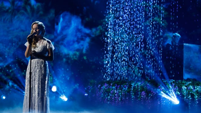 """Evie Clair of Florence performs in the finale of Season 12 of """"America's Got Talent"""" on Tuesday, Sept. 19, 2017."""