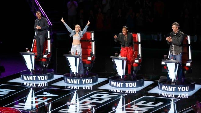 Adam Levine, Miley Cyrus, Jennifer Hudson, Blake Shelton on 'The Voice.'