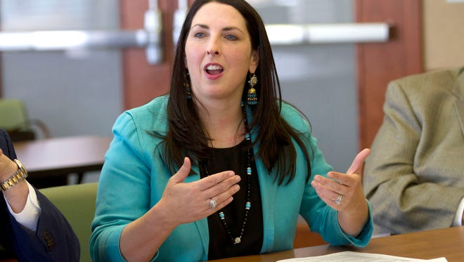 Republican National Committee Chairwoman Ronna Romney McDaniel addresses Hispanic business owners and community members at the Lansing Regional Chamber of Commerce in Lansing in May 2017.
