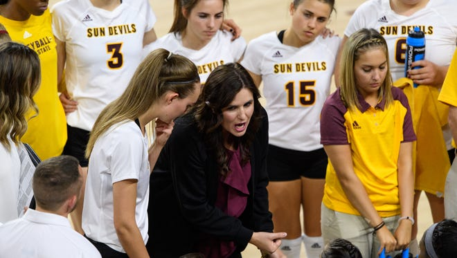 Arizona State University head coach Sanja Tomasevic talks to her players during a timeout during their Pac-12 volleyball match on Thursday, Sept. 21, 2017, at Wells Fargo Arena in Tempe, Ariz.