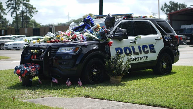 Public memorial held to honor the life and service of Lafayette Police Department Cpl. Michael Paul Middlebrook. October 3, 2017.