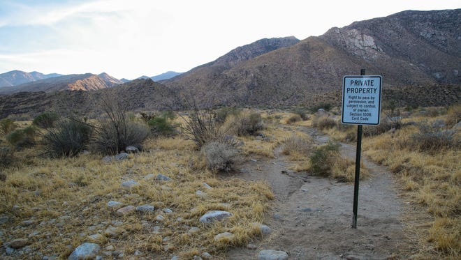 Private property signs have been posted in Oswit Canyon where development stalled after a group of residents collected enough signatures to put a measure on the ballot to protect the canyon, Saturday, October 7, 2017.