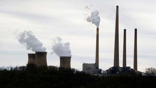 This photo  shows the stacks of the Homer City Generating Station, a coal-fired power plant in Homer City, Pa.