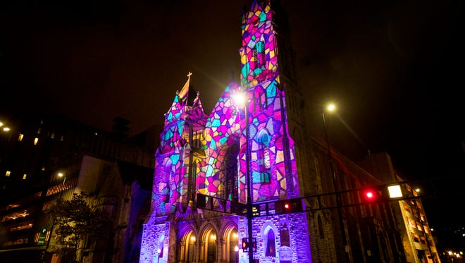 Artist David Seitz created this video projection for Covenant First Presbyterian Church, 717 Elm St. The projection will run, on repeat, from sundown until midnight through Sunday as part of Blink Cincinnati.