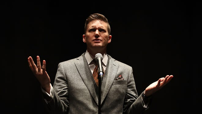 "White nationalist Richard Spencer, who popularized the term ""alt-right"" speaks during a press conference at the Curtis M. Phillips Center for the Performing Arts on October 19, 2017, in Gainesville, Florida. Spencer delivered a speech on the college campus, his first since he and others participated in the ""Unite the Right"" rally, which turned violent in Charlottesville, Virginia."
