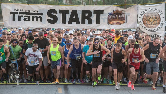 Runners start the Tram Road Challenge in Palm Springs, California on October 28, 2017. J.J. Santana finished first overall.