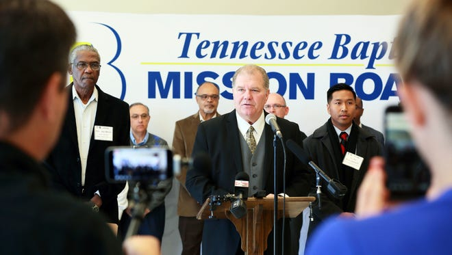An ethnically diverse group of pastors are pictured in Nashville to condemn the scheduled White Lives Matter rallies in Tennessee over the weekend.