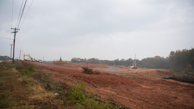 Construction crews work on property overlooking Grandview Drive in Simpsonville. November, 7, 2017