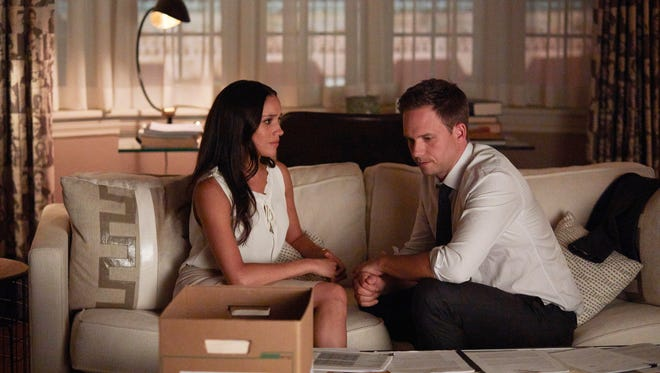 Meghan Markle, left, who plays Rachel Zane, and Patrick J. Adams, who plays Mike Ross are reportedly likely to leave USA's 'Suits' after Season 7, whose final six episodes will air in 2018.