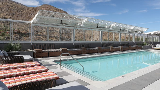 The rooftop pool at the top of The Rowan Palm Springs, a new Kimpton hotel.