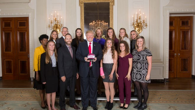 President Donald J. Trump celebrated the Collegiate National Champions of 2016 and 2017 with the ASU women's triathlon team on Nov. 17, 2017.