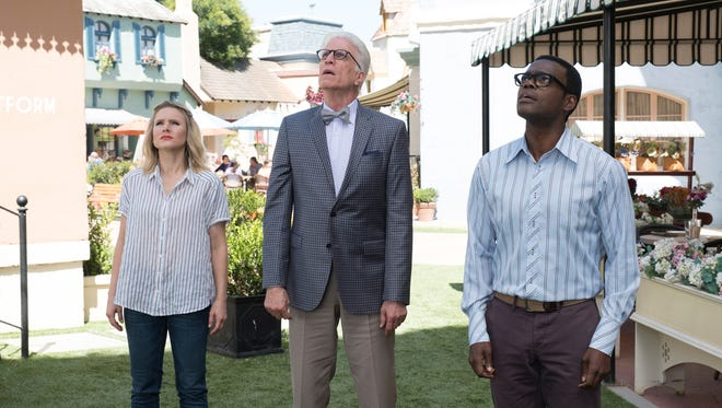 Kristen Bell as Eleanor, Ted Danson as Michael and William Jackson Harper as Chidi on 'The Good Place.'