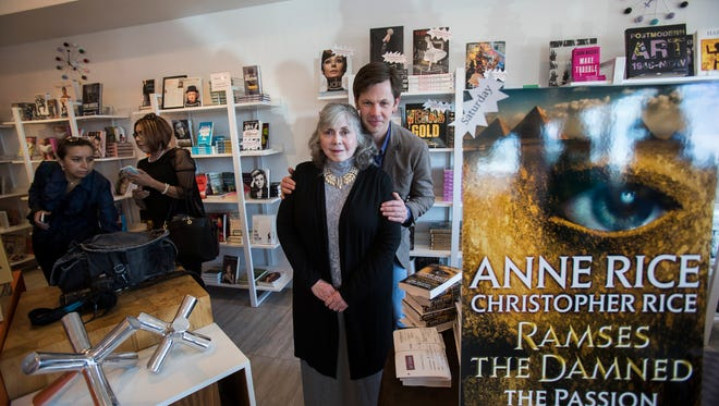 "Anne Rice and her son Christopher Rice are photographed during a book signing for their new book, ""Ramses the Damned: The Passion of Cleopatra"" in Palm Springs on December 9, 2017."