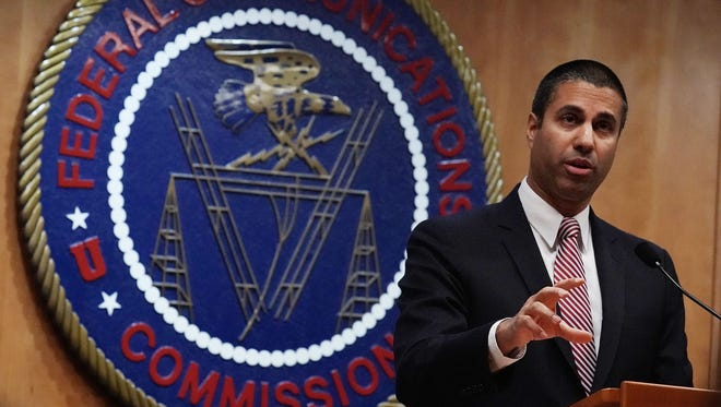 Federal Communications Commission Chairman Ajit Pai speaks to members of the media after a commission meeting December 14, 2017 in Washington, DC. FCC has voted to repeal its net neutrality rules at the meeting.