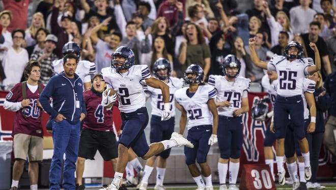 Perry's D'Shayne James scores a touchdown reception against Chandler in the 4th quarter during the 6A State Championship on Saturday, Dec. 2, 2017 at Arizona Stadium in Tucson, Ariz. Chandler won, 49-42.