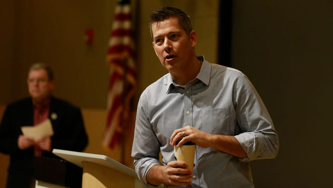 U.S. Rep. Sean Duffy, R-Wausau, speaks to his constituents during Marathon County's town hall meeting at North Central Technical College Center for Health Services Auditorium Thursday, Jan. 4, 2018, in Wausau, Wisc.
