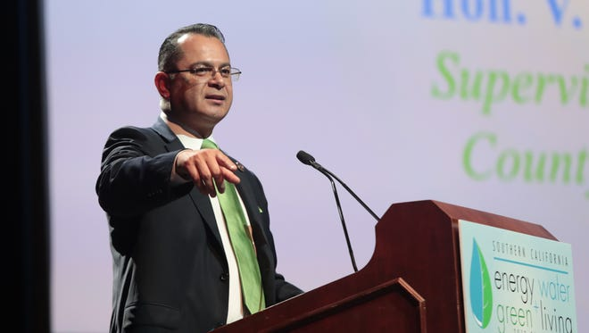 Supervisor V. Manuel Perez speaks at the Southern California Energy and Water Summit, January 11, 2018.