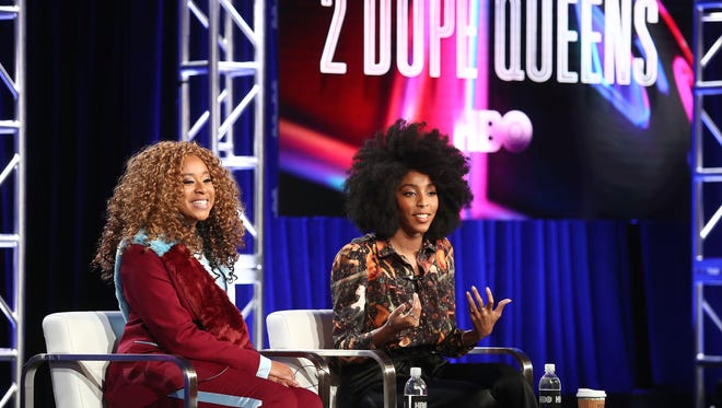 Phoebe Robinson (left) and Jessica Williams, at the Television Critics Association, talk '2 Dope Queens,' a series of HBO specials based on their comedy podcast.