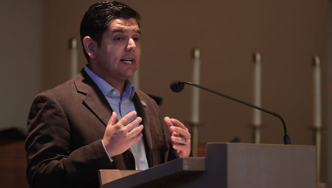 Congressman Raul Ruiz speaks at the Martin Luther King Commemoration Program in Palm Springs, Calif., Sunday, January 14, 2018.