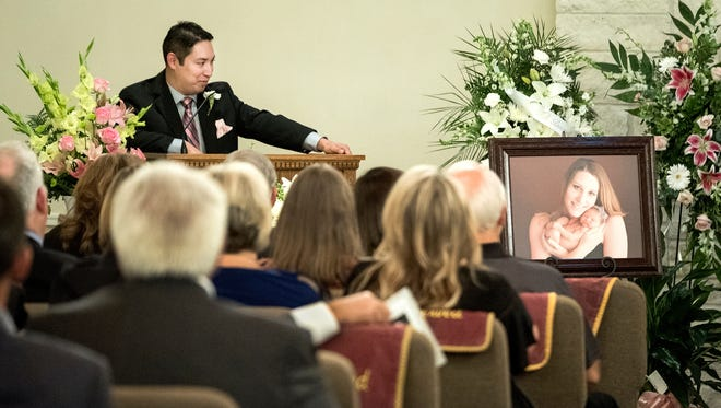 Chris Zavala Jr. gives the eulogy for his wife, Michelle Zavala, at her funeral service at Cook-Walden/Capital Parks Funeral Home in Pflugerville, Texas on Aug. 5, 2017.