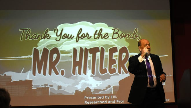 """Elliott Katz presented a lecture at Hodges University entitled """"Thank You for the Bomb, Mr. Hitler"""" on Jan. 11, part of a series sponsored by the Holocaust Museum of Southwest Florida."""