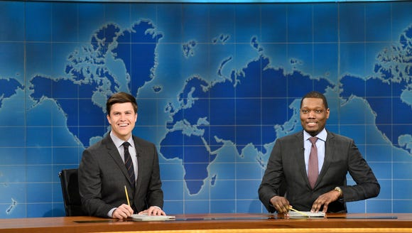 "Colin Jost and Michael Che during ""Weekend Update"""