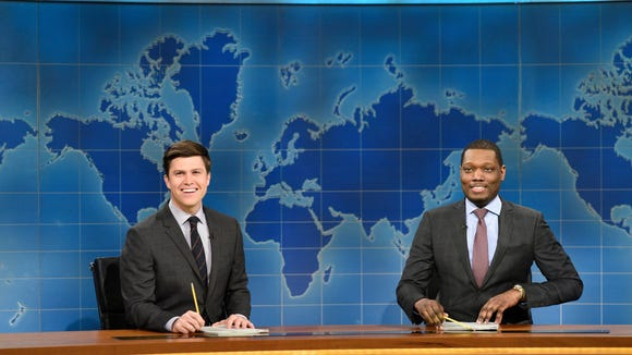 """Colin Jost and Michael Che during """"Weekend Update"""""""