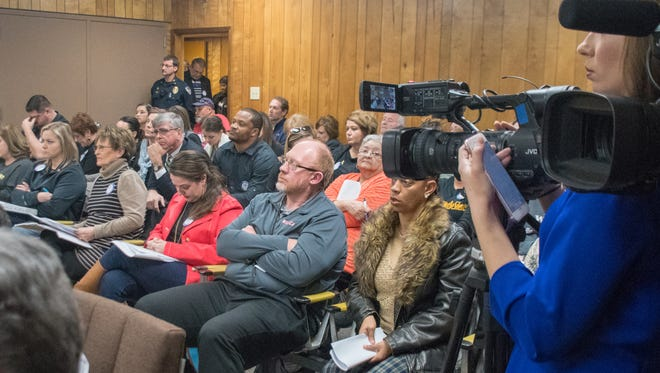 Standing room only at the Vermillion Parish School Board Meeting. Thursday, Jan. 25, 2018.