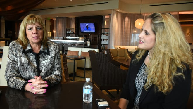 Sharon Lockwood, left, in Korals, the Marriott's lobby bar with director of sales and marketing Amanda Cox. Lockwood became the new general manager of the JW Marriott Marco Island Beach Resort this month, replacing longtime GM Rick Medwedeff.