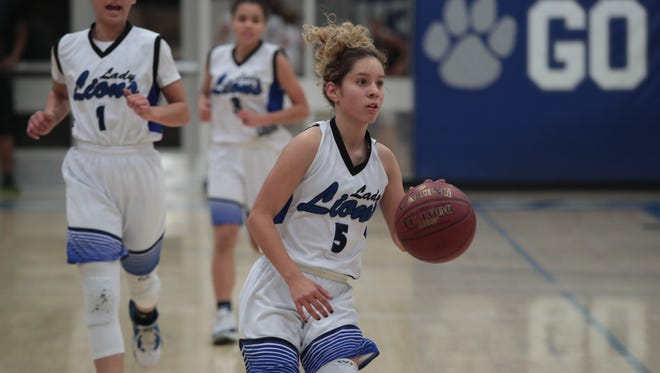 Dominique Urbina brings the ball down the court for Cathedral City, Thursday, February 15, 2018.