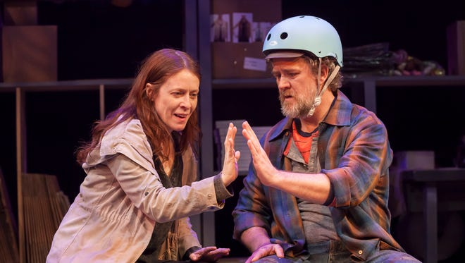 """Bari (Eva Kaminsky) and Mike (Torsten Hillhouse) play two damaged souls stumbling their way through life in the Playhouse in the Park's world premiere production of Deborah Zoe Laufer's """"Be Here Now."""""""