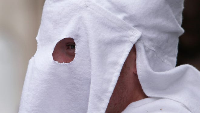 File photo of a member of the Fraternal White Knights of the Ku Klux Klan.