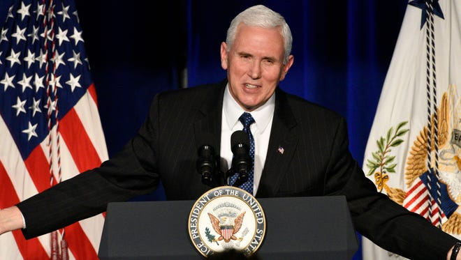 Vice President Mike Pence addresses the crowd at the Pence Tribute Gala.  Vice President Pence and his wife, Karen, are being honored at the Pence Tribute Gala, by the Indiana Society of Washington, at the National Museum of Women in the Arts. Five of the Second Lady's watercolor paintings are being auctioned to benefit the Riley Art Therapy Program at Children's Hospital in Indianapolis.