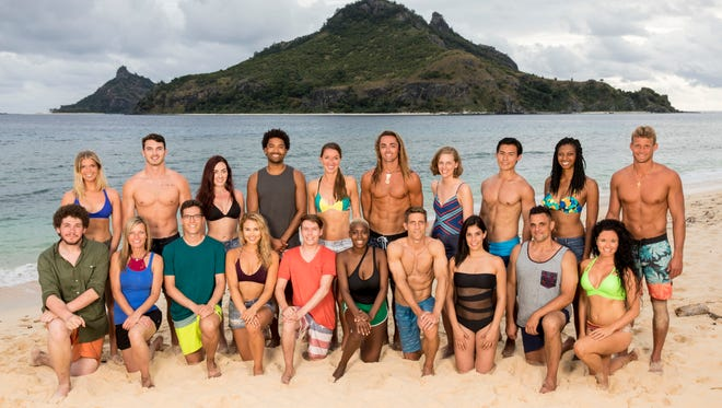 """The 20 castaways competing on """"Survivor"""" this season, themed """"Ghost Island,"""" when the Emmy Award-winning series returns for its 36th season premiere on Wednesday on CBS. Angela Perkins, of Mason, is the second from the left on the front row."""
