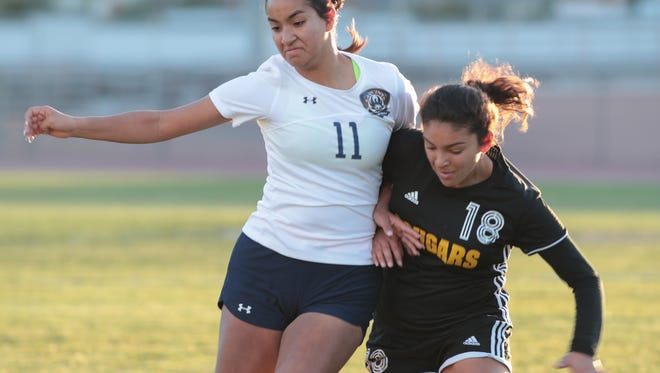 Hillary Barragan plays for La Quinta in a CIF semifinal game, Tuesday, February 27, 2018.