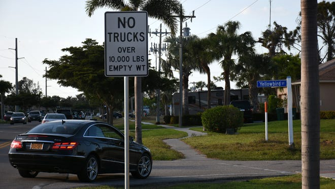 Signage on Yellowbird St. informs drivers trucks weighting over 10,000 pounds are not allowed on the street.