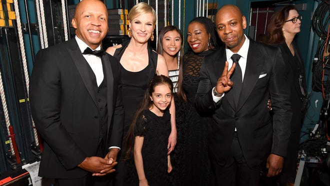 HOLLYWOOD, CA - MARCH 04:  In this handout provided by A.M.P.A.S.,  (L-R) Bryan Stevenson, Cecile Richards, Bana Alabed, guest, Tarana Burke and Dave Chappelle attend the 90th Annual Academy Awards at the Dolby Theatre on March 4, 2018 in Hollywood, California.  (Photo by Matt Petit/A.M.P.A.S via Getty Images)