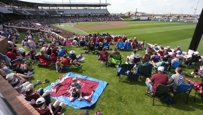 Fans watch the game from the berms. Mississippi State played Vanderbilt in an SEC college baseball game on Saturday, March 17, 2018. Photo by Keith Warren
