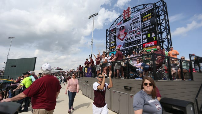 Fans cheer as Mississippi State's Hunter Stovall (13) comes to the plate. Mississippi State played Vanderbilt in an SEC college baseball game on Saturday, March 17, 2018. Photo by Keith Warren