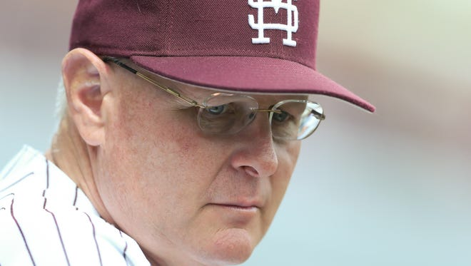 Mississippi State head baseball coach Gary Henderson. Mississippi State played Vanderbilt in an SEC college baseball game on Saturday, March 17, 2018. Photo by Keith Warren