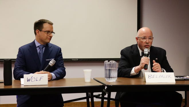 City of Sheboygan District 2 candidates Todd Wolf and John Belanger participate in a candidate forum on March 21 at Mead Public Library.