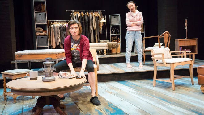 """Nora (Mary Bacon) and Lexie (Olivia Cygan) in the world premiere production of Allyson Currin's """"Sooner/Later."""" Directed by Lisa Rothe, the show runs in the Playhouse in the Park's Shelterhouse Theatre through April 21."""