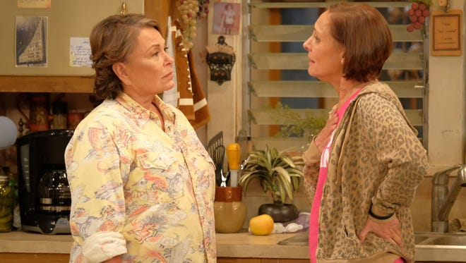 Roseanne (Barr) and sister Jackie (Laurie Metcalf) argued about Trump in the first episode of the revival.
