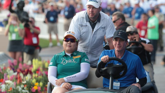 Inbee Park rides to the first of four playoff rounds during the final of the ANA Inspiration, Sunday, April 1, 2018.