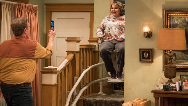 "Roseanne's clash with Darlene over how she's raising her kids - especially Harris - reaches a breaking point; while Dan tries to help Roseanne with her bad knee by getting her an elevator chair, which she refuses to use because she doesn't want to admit getting old, on the second episode of the revival of ""Roseanne,"" TUESDAY, APRIL 3 (8:00-8:30 p.m. EDT), on The ABC Television Network.  JOHN GOODMAN, ROSEANNE BARR"